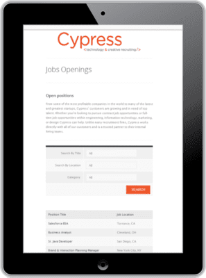 iPad showing Cypress Job Openings page