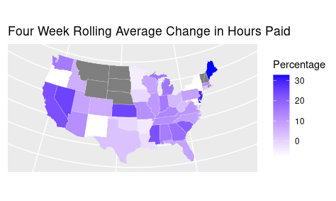 Staffing Hours paid by state rolling average